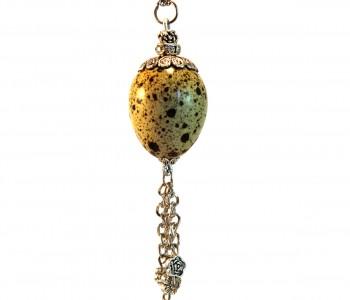 Collar joya Huevo natural con doble cadena colgante detalle