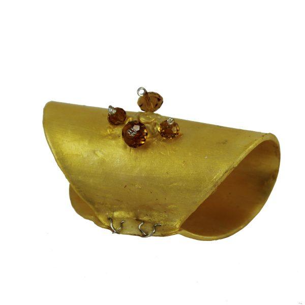 Pasapañuelo dorado con cristales ambar detalle