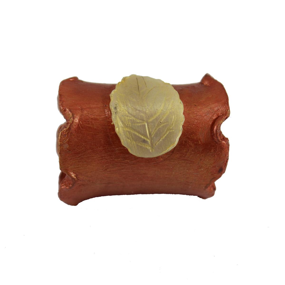 Sujetapañuelos cilindro color cobre con hoja