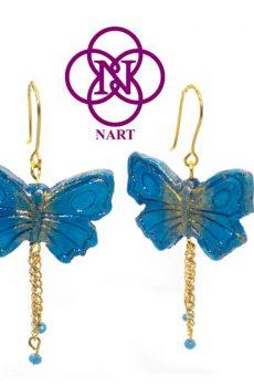 pendiente mariposa azul